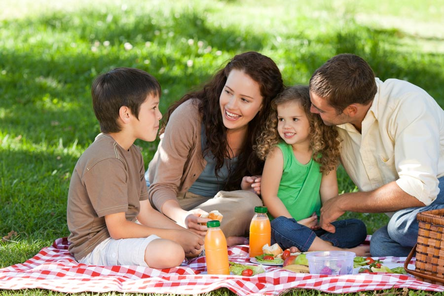 family of mom, dad, son and daughter having a picnic